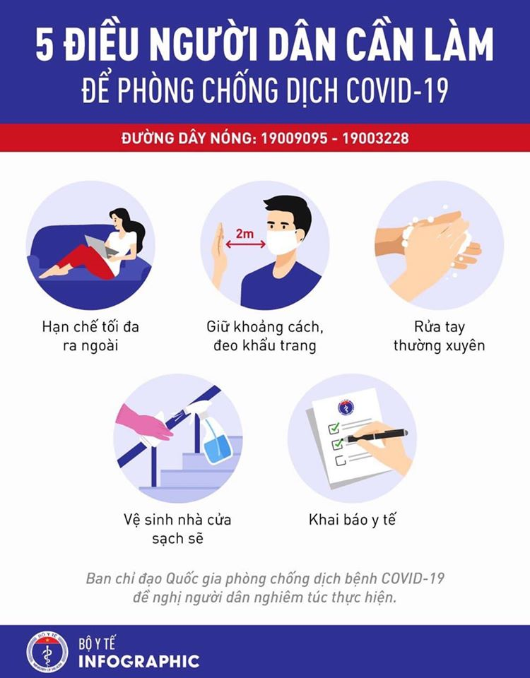 Thực hiện tốt thông điệp 5 điểm trong phòng chống dịch COVID-19