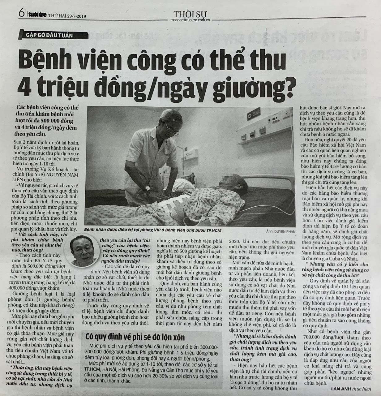 Giá giường nằm dịch vụ ở bệnh viện công có thể 4 triệu đồng một ngày